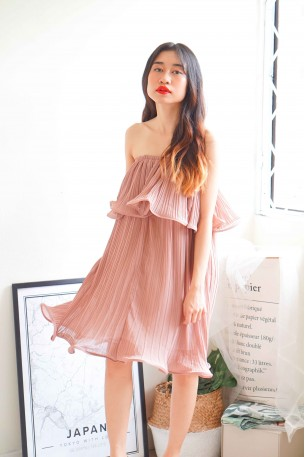 Dreaming In Vain Rose Pleated Dress