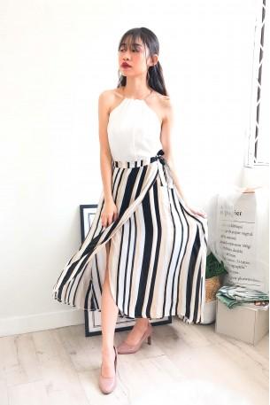 (BACKORDER) Speak Classy Brown Stripes Midi Skirt