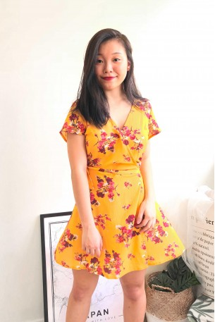 (BACKORDER) Sunset Lover Yellow Floral Wrap Dress