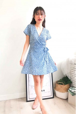 (BACKORDER) Whimsical Dream Blue Floral Wrap Dress
