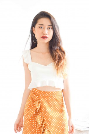 (BACKORDER) Halfway Through White Ruffle Crop Top