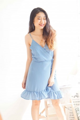 (BACKORDER) Flirtatious Frills Polkadot Dress in Blue
