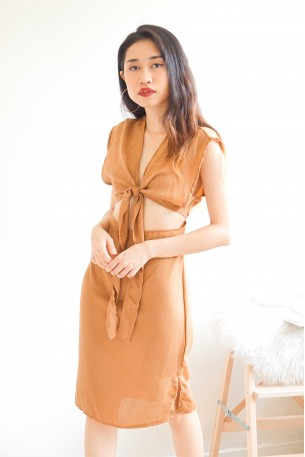 Exceptions Granted Brown Tied Knot Dress