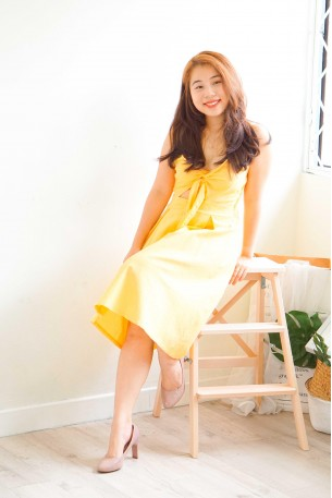 (BACKORDER) Main Girl Tie Knot Midi Dress in Yellow
