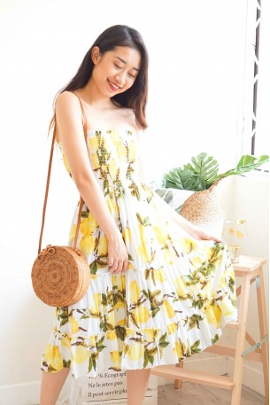 (BACKORDER) Citrus Garden Lemon Tube Dress