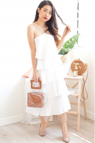 (BACKORDER) Grace Kelly White Layered Dress