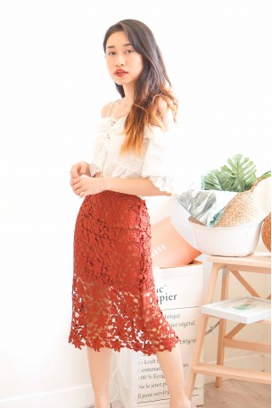 (BACKORDER) Luxe Feeling Maroon Lace Skirt