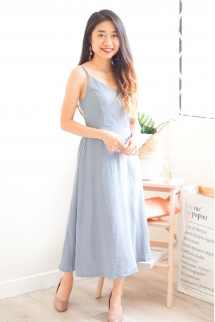 (BACKORDER) Maiden Name Backless Dress in Blue