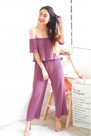 Purple Rain Off Shoulder Pleated Jumpsuit