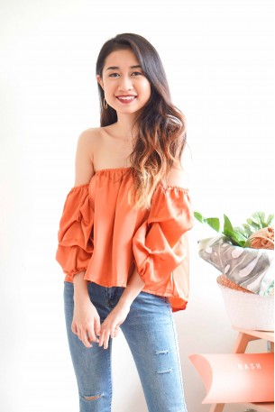 (BACKORDER) Treasured Gold Satin Off Shoulder Top