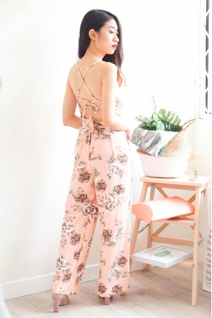 Pastel Dreams Floral Maxi Jumpsuit in Peach
