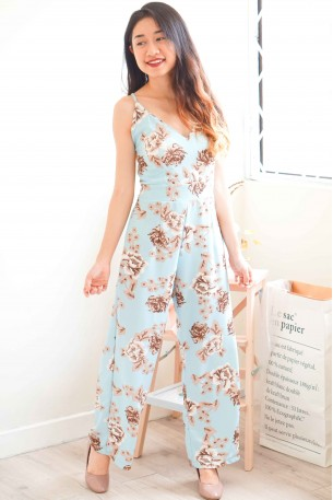 Pastel Dreams Floral Maxi Jumpsuit in Blue