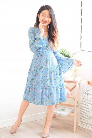 Modern Fairy Tales Floral Dress in Blue