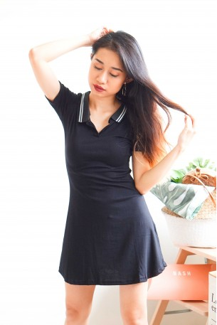 (BACKORDER) Serve You Right Black Tennis Dress