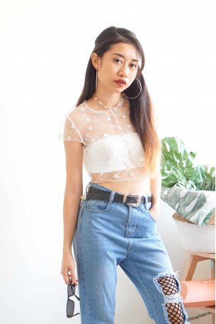 All Stars On Me White Mesh Top [Inner Included]