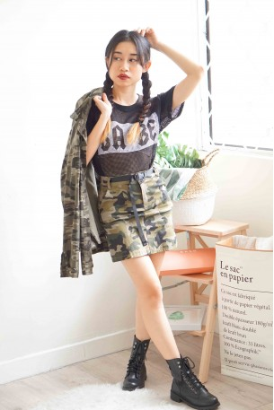 Daddy Issues Camo Bodycon Skirt
