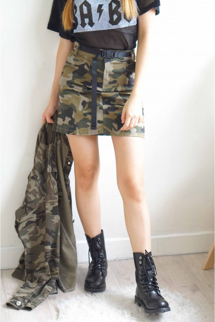 fca63fc58e Daddy Issues Camo Bodycon Skirt