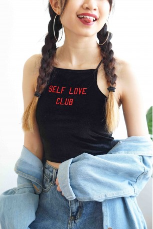 (BACKORDER) Self Love Black Velvet Crossback Top