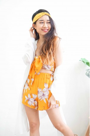 Sun Models Yellow 2 Piece Floral Set