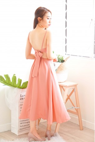 (BACKORDER ) Maiden Name Backless Dress in Pink