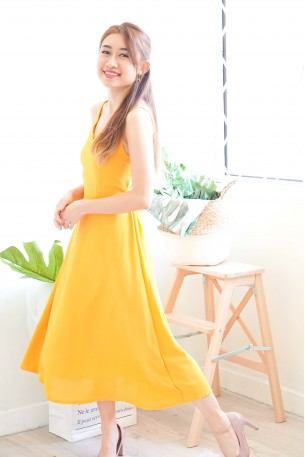 Maiden Name Backless Dress in Yellow