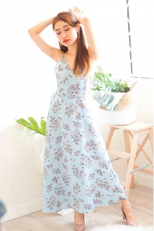 Matthiola Blooms Self Tied Dress in Light Blue