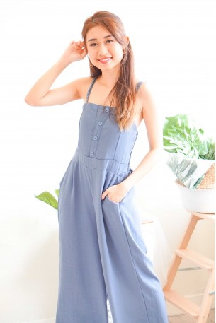 Cloudy Bay Blue Button Jumpsuit