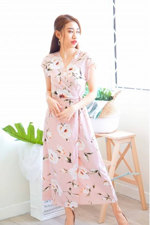 Avery Floral Self-Tied Maxi Dress in Pink