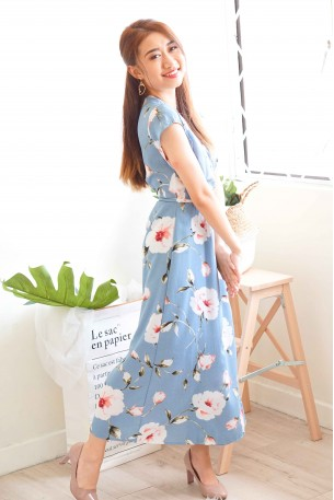 Avery Floral Self-Tied Maxi Dress in Blue