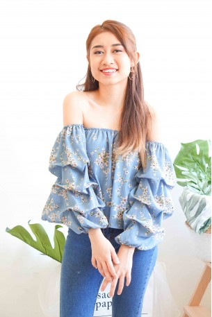 Wishbone Floral Off Shoulder Top in Blue