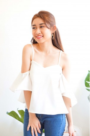 Brushing Hearts Top with Flare Sleeves in White