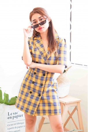 Sin Rostro Yellow Checkered Dress