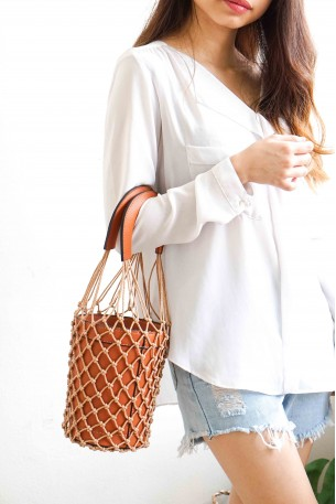 (BACKORDER) DEEMA Fishnet Bucket Bag