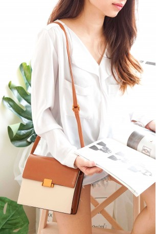 (BACKORDER) ELGA Two-Tone Bag in Beige