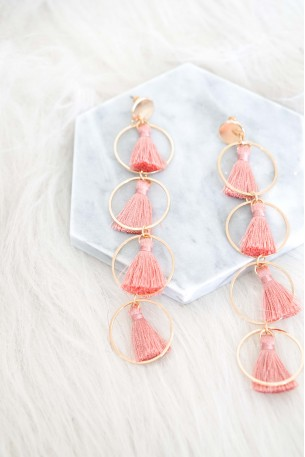 Kamari Pink Tassel Earrings