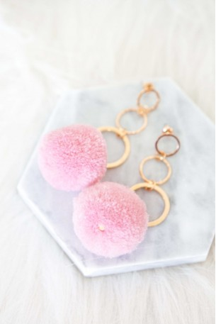 Perissa Pink Pom Pom Earrings