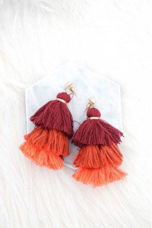 Ammoudi Ombre Red Tassel Earrings