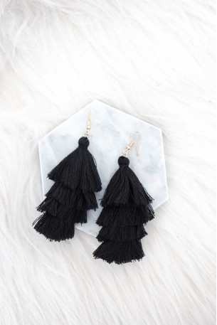 Monolitos Black Tassels Earrings