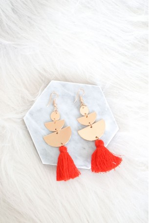 Perivolos Red Tassel Earrings