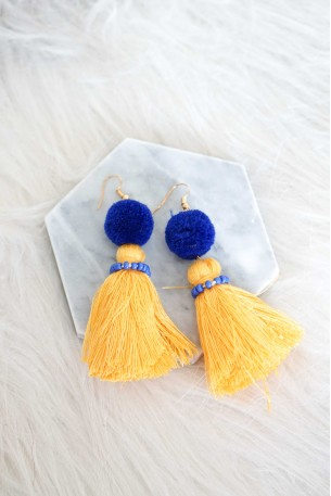 Oia Yellow Tassel Earrings