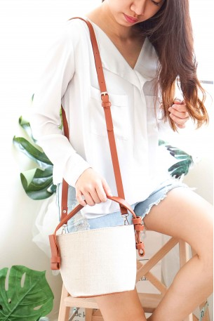 KAIA Beige Mini Bucket Bag
