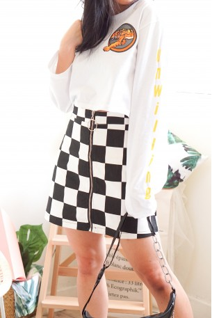 (BACKORDER) Run A Lap Checkered Skirt