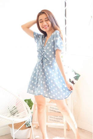 Timely Coincidence Blue Polkadot Dress
