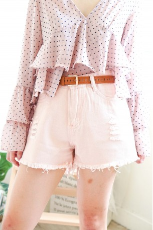 (BACKORDER) Dreaming Cotton Pink Ripped Shorts