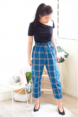 Miss Bossy Checkered Pants in Blue