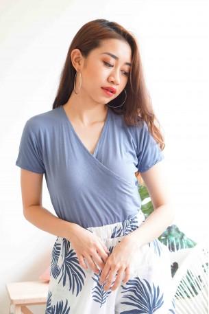 Warm Embrace Basic Blue V Neck Top