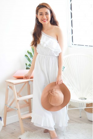 Dream Vacation White Toga Dress