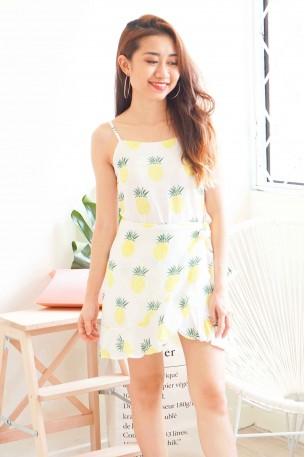 Miss Josephine Ruffles Dress in Pineapple Print