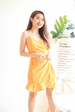 (BACKORDER) Good Things Can Wait Yellow Polkadot Dress