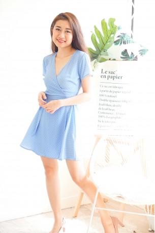 (BACKORDER) Highschool Sweetheart Blue Polkadot Dress
